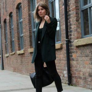 Emerald Green 100% Wool Blazer- Vintage